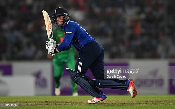 Jason Roy of England bats during the 2nd One Day International match between Bangladesh and England at ShereBangla National Cricket Stadium on...