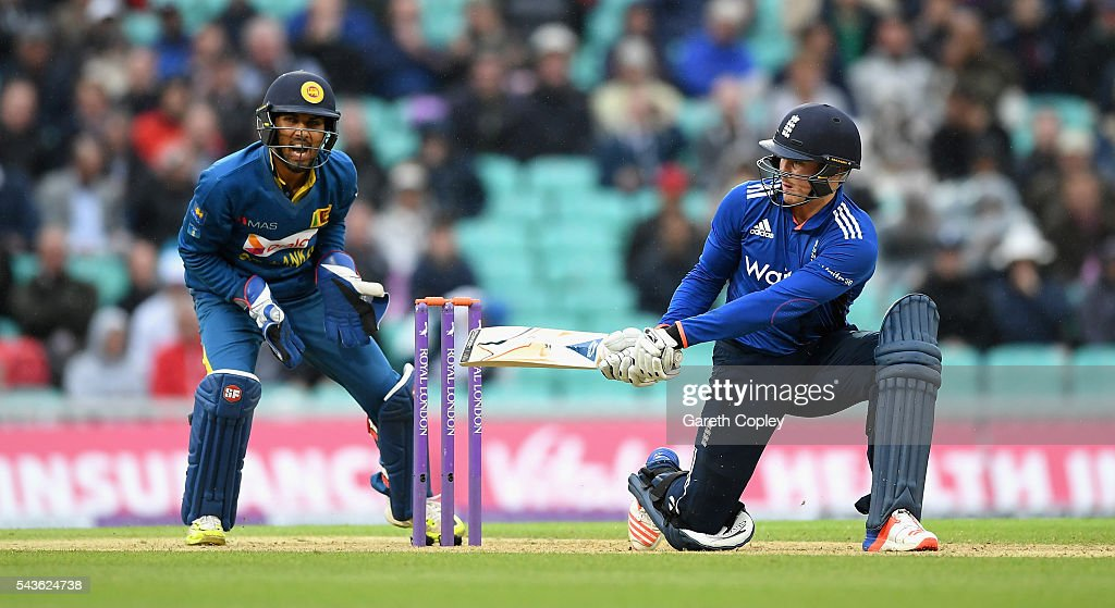 Jason Roy of England bats during the 4th ODI Royal London One Day International match between England and Sri Lanka at The Kia Oval on June 29, 2016 in London, England.