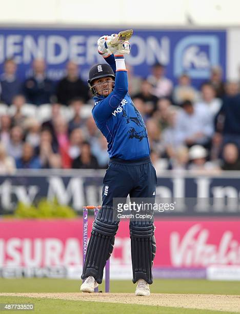 Jason Roy of England bats during the 4th Royal London OneDay International match between England and Australia at Headingley on September 11 2015 in...