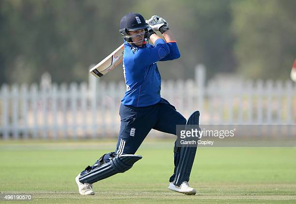 Jason Roy of England bats during the tour match between Hong Kong and England at Zayed Cricket Stadium Nursery Ground on November 8 2015 in Abu Dhabi...