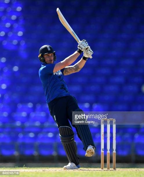 Jason Roy of England bats during the tour match between WICB President's XI and England at Warner Park on February 25 2017 in Basseterre St Kitts