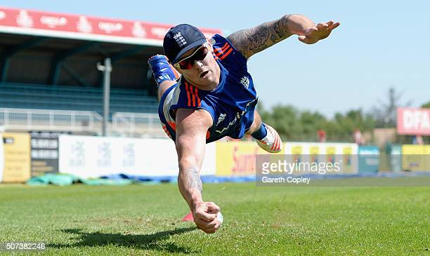 Jason Roy of England catches during a nets session at the Diamond Oval on January 29 2016 in Kimberley South Africa
