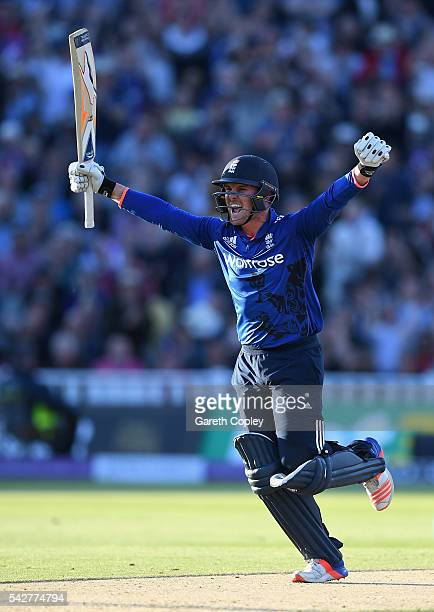 Jason Roy of England celebrates reaching his century during the 2nd ODI Royal London OneDay match between England and Sri Lanka at Edgbaston on June...