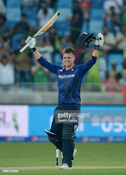 Jason Roy of England celebrates reaching his century during the 4th One Day International between Pakistan and England at Dubai Cricket Stadium on...