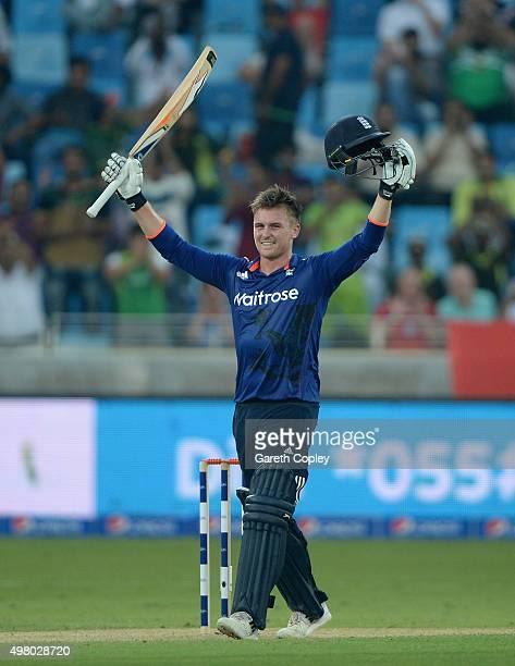 Jason Roy of England celebrates reaching his century during the 4th One Day International between Pakistan and England at Dubai Cricket Stadium on...
