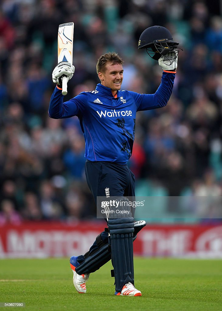 <a gi-track='captionPersonalityLinkClicked' href=/galleries/search?phrase=Jason+Roy+-+Cricket+Player&family=editorial&specificpeople=13892033 ng-click='$event.stopPropagation()'>Jason Roy</a> of England celebrates reaching his century during the 4th ODI Royal London One Day International match between England and Sri Lanka at The Kia Oval on June 29, 2016 in London, England.
