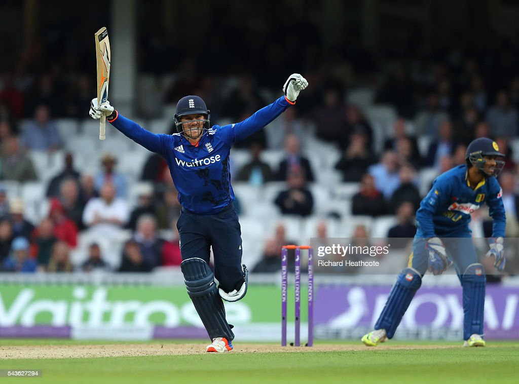 <a gi-track='captionPersonalityLinkClicked' href=/galleries/search?phrase=Jason+Roy+-+Cricket+Player&family=editorial&specificpeople=13892033 ng-click='$event.stopPropagation()'>Jason Roy</a> of England celebrates reaching his century during the 4th Royal London ODI between England and Sri Lanka at The Kia Oval on June 29, 2016 in London, England.