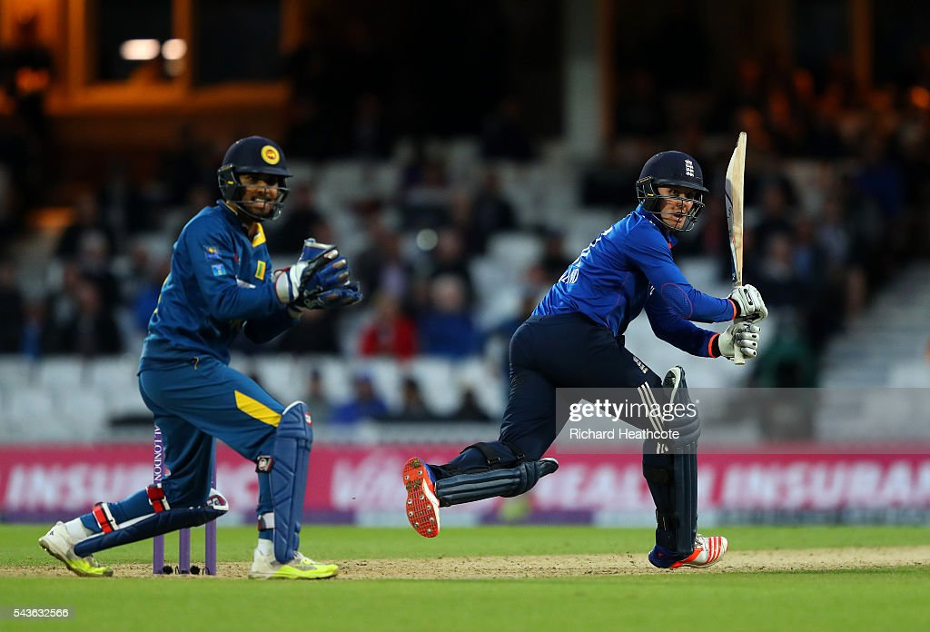 <a gi-track='captionPersonalityLinkClicked' href=/galleries/search?phrase=Jason+Roy+-+Cricket+Player&family=editorial&specificpeople=13892033 ng-click='$event.stopPropagation()'>Jason Roy</a> of England cuts the ball away during the 4th Royal London ODI between England and Sri Lanka at The Kia Oval on June 29, 2016 in London, England.