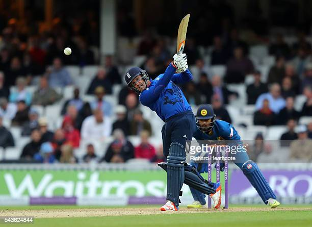 Jason Roy of England drives the ball to the boundary during the 4th Royal London ODI between England and Sri Lanka at The Kia Oval on June 29 2016 in...