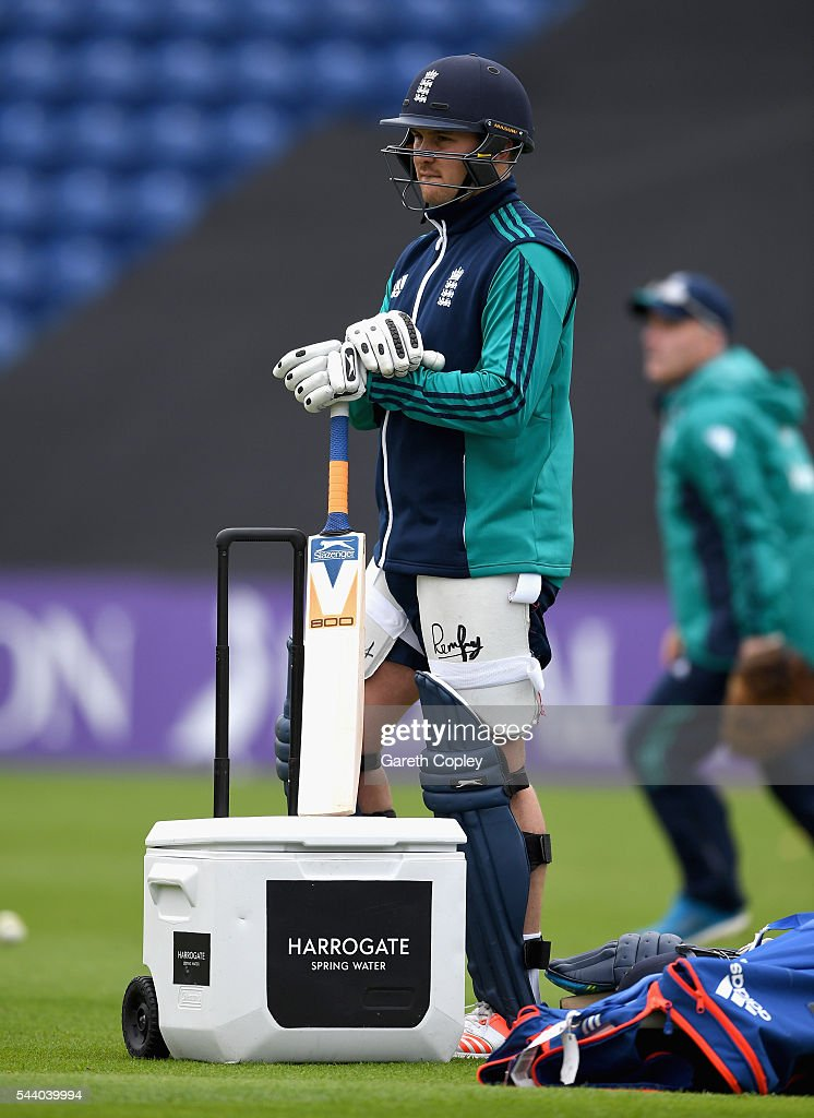 <a gi-track='captionPersonalityLinkClicked' href=/galleries/search?phrase=Jason+Roy+-+Cricket+Player&family=editorial&specificpeople=13892033 ng-click='$event.stopPropagation()'>Jason Roy</a> of England during a nets session at SWALEC Stadium on July 1, 2016 in Cardiff, England.