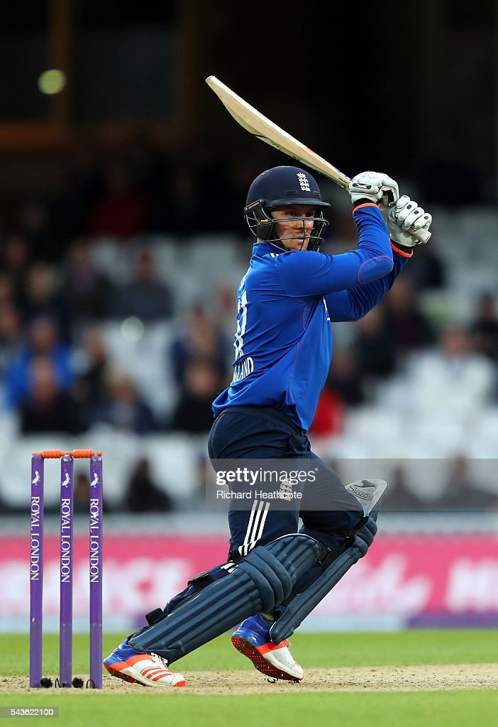 <a gi-track='captionPersonalityLinkClicked' href=/galleries/search?phrase=Jason+Roy+-+Cricket+Player&family=editorial&specificpeople=13892033 ng-click='$event.stopPropagation()'>Jason Roy</a> of England hits a cut during the 4th Royal London ODI between England and Sri Lanka at The Kia Oval on June 29, 2016 in London, England.