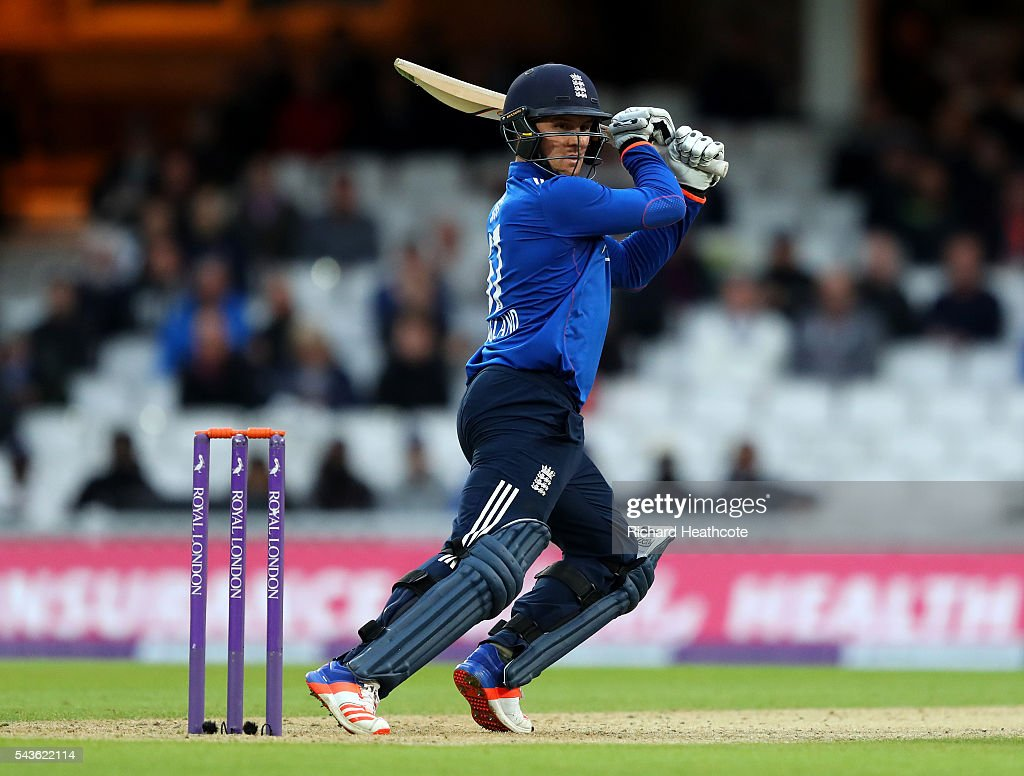 Jason Roy of England hits a cut during the 4th Royal London ODI between England and Sri Lanka at The Kia Oval on June 29, 2016 in London, England.