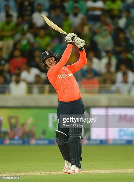 Jason Roy of England hits out for six runs during the 2nd International T20 between Pakistan and England at Dubai Cricket Stadium on November 27 2015...