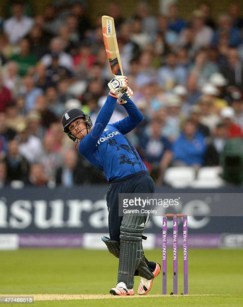 Jason Roy of England hits out for six runs during the 4th ODI Royal London OneDay match between England and New Zealand at Trent Bridge on June 17...