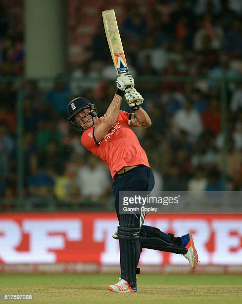 Jason Roy of England hits out for six runs during the ICC World Twenty20 India 2016 Group 1 match between England and Sri Lanka at Feroz Shah Kotla...