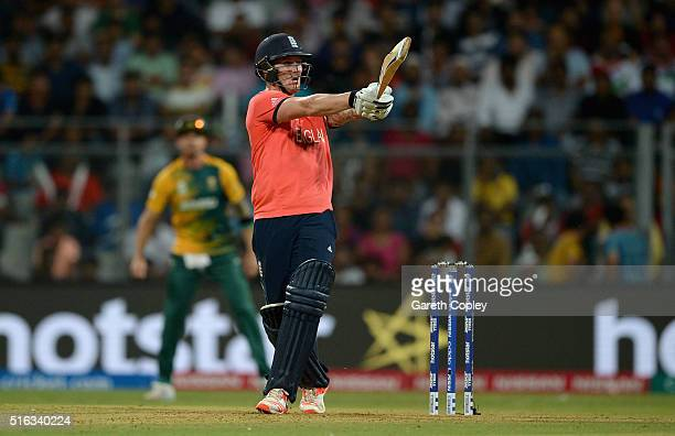 Jason Roy of England hits out for six runs during the ICC World Twenty20 India 2016 Super 10s Group 1 match between South Africa and England at...