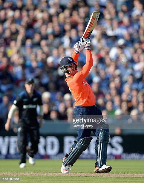 Jason Roy of England hits out for six runs during the NatWest International Twenty20 match between England and New Zealand at Old Trafford on June 23...