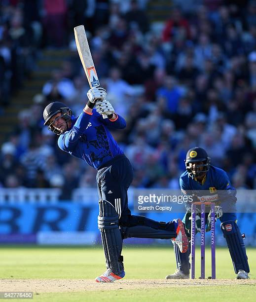 Jason Roy of England hits out for six runs to reach his century during the 2nd ODI Royal London OneDay match between England and Sri Lanka at...
