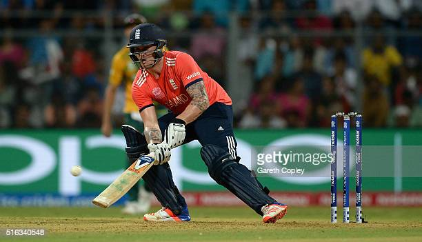 Jason Roy of England hits six runs with a ramp shot during the ICC World Twenty20 India 2016 Super 10s Group 1 match between South Africa and England...