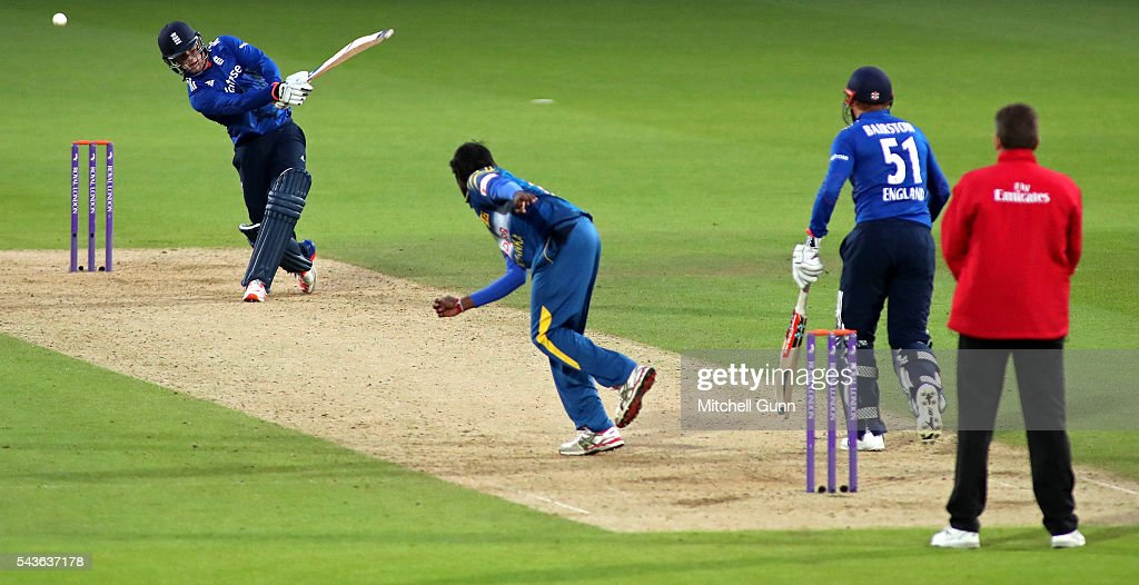 Jason Roy of England hits the ball for four runs off the bowling of Nuwan Pradeep of Sri Lanka during the 4th Royal London One-Day International between England and Sri Lanka at The Kia Oval Cricket Ground on June 29, 2016 in London, England.