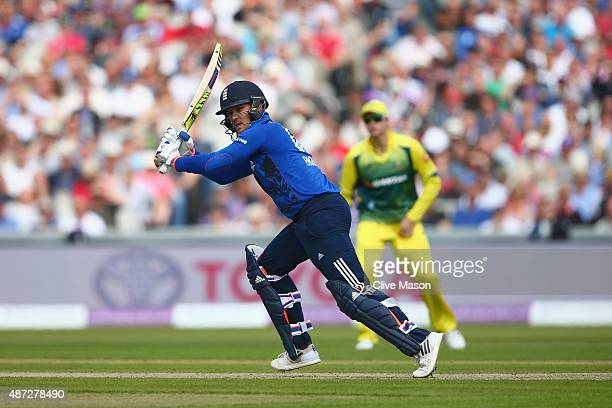 Jason Roy of England in action batting during the 3rd Royal London OneDay International match between England and Australia at Old Trafford on...