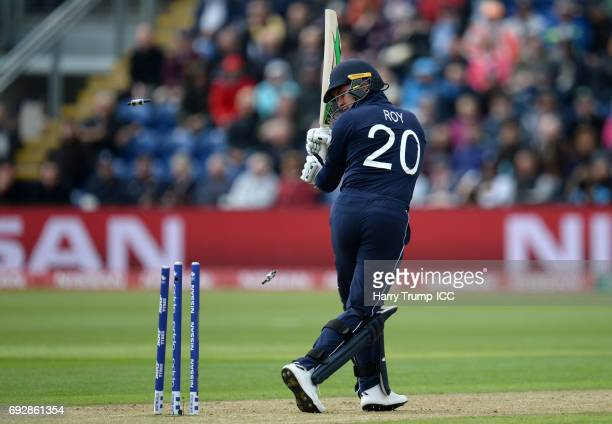 Jason Roy of England is bowled by Adam Milne of New Zealand during the ICC Champions Trophy match between England and New Zealand at SWALEC Stadium...