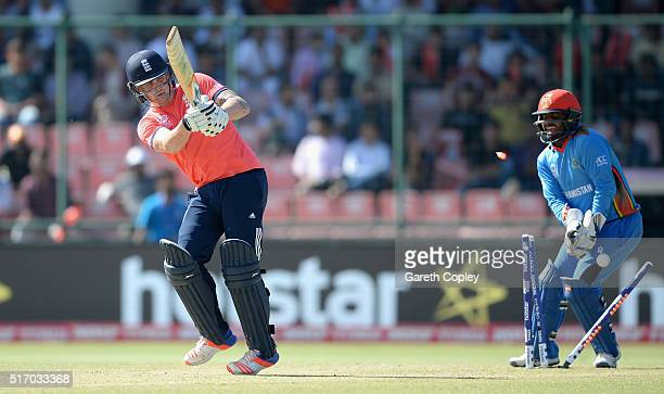 Jason Roy of England is bowled by Amir Hamza of Afghanistan during the ICC World Twenty20 India 2016 Group 1 match between England and Afghanistan at...