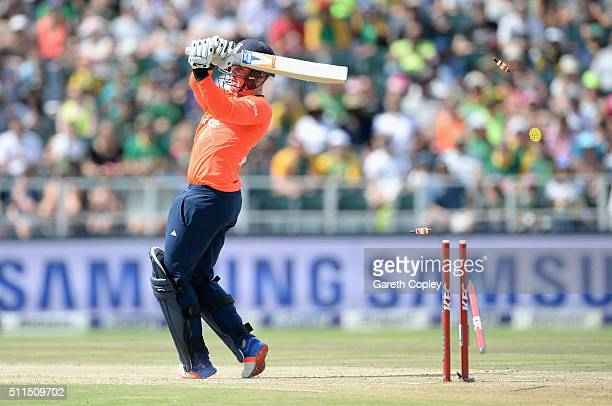 Jason Roy of England is bowled by Kagiso Rabada of South Africa during the 2nd KFC T20 International match between South Africa and England at...