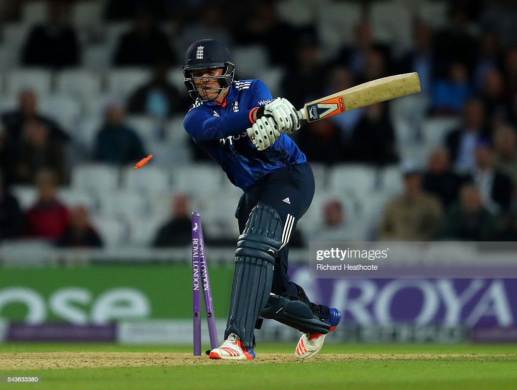 <a gi-track='captionPersonalityLinkClicked' href=/galleries/search?phrase=Jason+Roy+-+Cricket+Player&family=editorial&specificpeople=13892033 ng-click='$event.stopPropagation()'>Jason Roy</a> of England is bowled out by Nuwan Pradeep during the 4th Royal London ODI between England and Sri Lanka at The Kia Oval on June 29, 2016 in London, England.