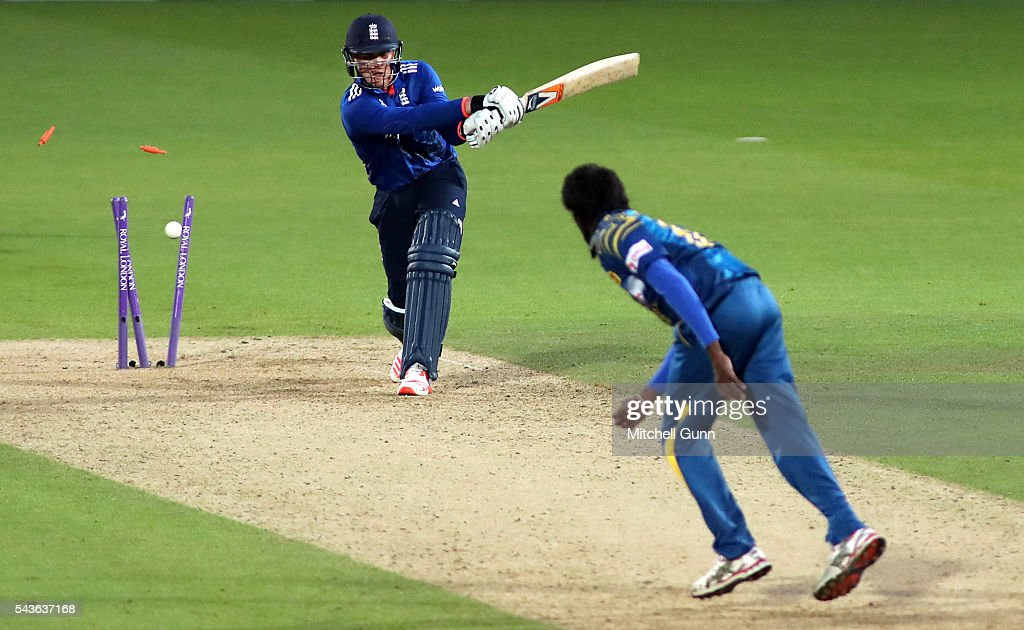 Jason Roy of England is bowled out by Nuwan Pradeep of Sri Lanka during the 4th Royal London One-Day International between England and Sri Lanka at The Kia Oval Cricket Ground on June 29, 2016 in London, England.