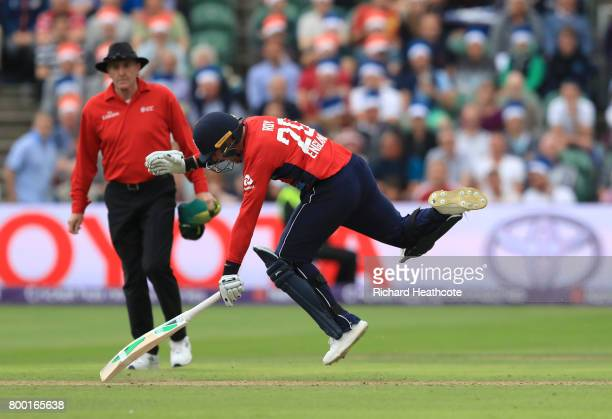 Jason Roy of England is given out for obstructing the ball for a runout during the 2nd NatWest T20 International match between England and South...