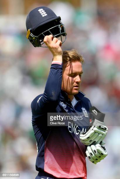 Jason Roy of England leaves the field after being dismissed during the ICC Champions trophy cricket match between England and Bangladesh at The Oval...