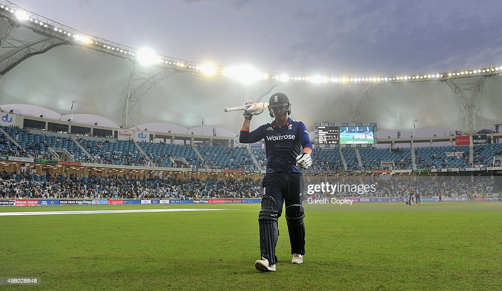 Jason Roy of England leaves the field after being dismissed for 102 runs during the 4th One Day International between Pakistan and England at Dubai...