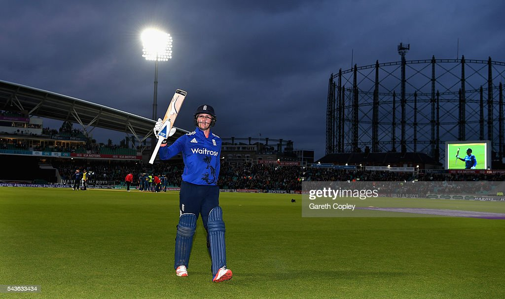 <a gi-track='captionPersonalityLinkClicked' href=/galleries/search?phrase=Jason+Roy+-+Cricket+Player&family=editorial&specificpeople=13892033 ng-click='$event.stopPropagation()'>Jason Roy</a> of England leaves the field after scoring 162 runs during the 4th ODI Royal London One Day International match between England and Sri Lanka at The Kia Oval on June 29, 2016 in London, England.