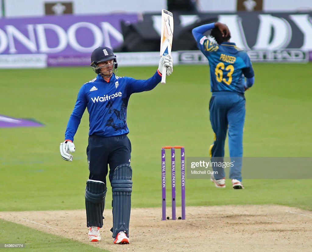 Jason Roy of England raises his bat and celebrates scoring a half century during the 4th Royal London One-Day International between England and Sri Lanka at The Kia Oval Cricket Ground on June 29, 2016 in London, England.
