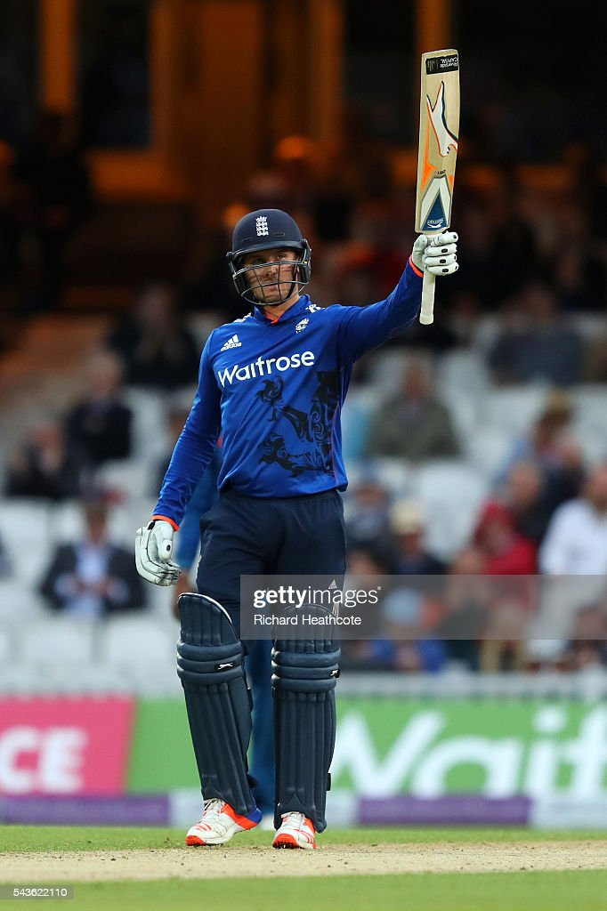 Jason Roy of England reaches his half century during the 4th Royal London ODI between England and Sri Lanka at The Kia Oval on June 29, 2016 in London, England.