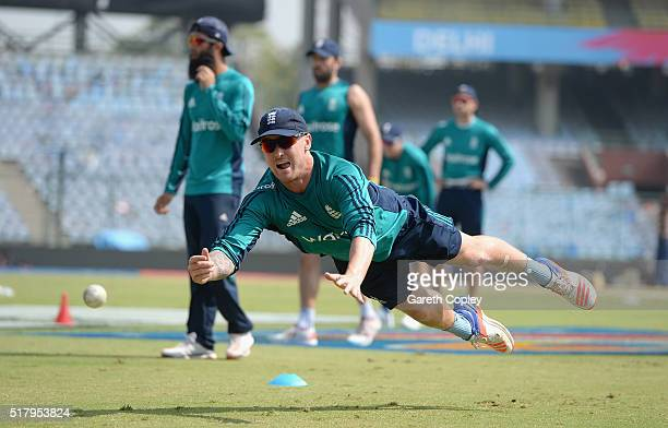 Jason Roy of England throws during a nets session at Feroz Shah Kotla Stadium on March 29 2016 in Delhi India