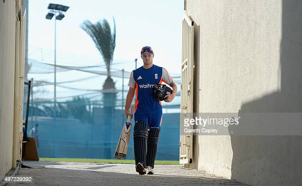 Jason Roy of England walks from the nets after batting during a nets session at Sharjah Cricket Stadium on November 15 2015 in Sharjah United Arab...