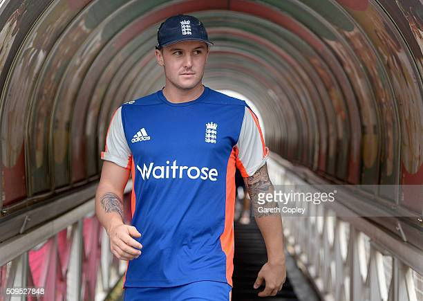 Jason Roy of England walks from the tunnel ahead of a nets session at Bidvest Stadium on February 11 2016 in Johannesburg South Africa