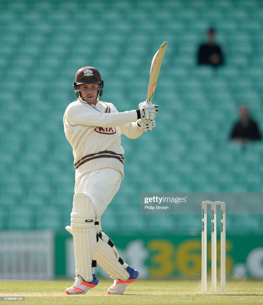 Jason Roy of Surrey bats during day one of the Specsavers County Championship Division One match between Surrey and Durham at the Kia Oval on May 1, 2016 in London, England.