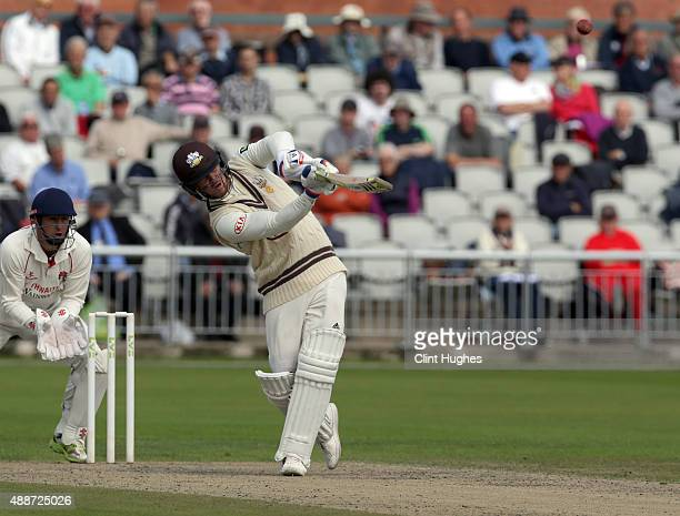 Jason Roy of Surrey bats during day two of the LV County Championship Division Two match between Lancashire and Surrey at Emirates Old Trafford on...