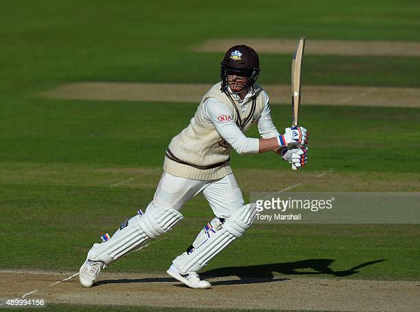 Jason Roy of Surrey bats during the LV County Championship Division Two match between Surrey and Northamptoshire at The Kia Oval on September 25 2015...