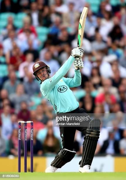 Jason Roy of Surrey bats during the NatWest T20 Blast match between Surrey and Essex Eagles at The Kia Oval on July 19 2017 in London England