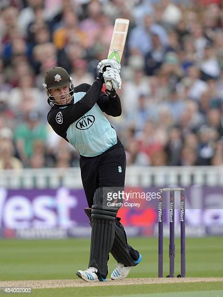 Jason Roy of Surrey bats during the Semi Final Natwest T20 Blast match between Birmingham Bears and Surrey at Edgbaston on August 23 2014 in...