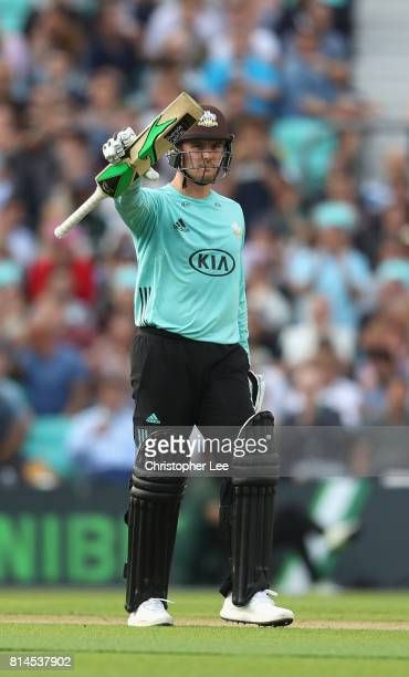 Jason Roy of Surrey celebrates his 50 during the NatWest T20 Blast match between Surrey and Kent at The Kia Oval on July 14 2017 in London England