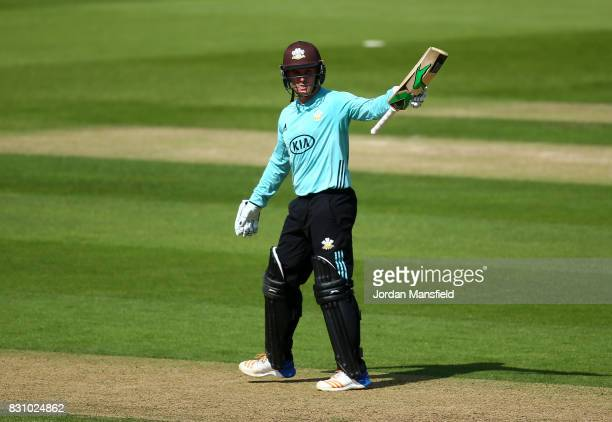 Jason Roy of Surrey celebrates his halfcentury during the NatWest T20 Blast match between Surrey and Sussex Shark at The Kia Oval on August 13 2017...