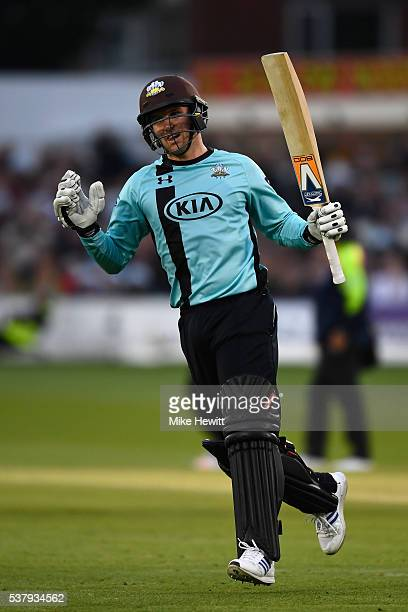 Jason Roy of Surrey celebrates reaching his century during the NatWest T20 Blast between Sussex and Surrey at the 1st Central County Ground on June 3...