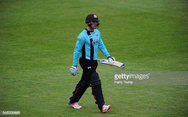 Jason Roy of Surrey cuts a dejected figure after being dismissed during the Natwest T20 Blast match between Gloucestershire and Surrey at The...