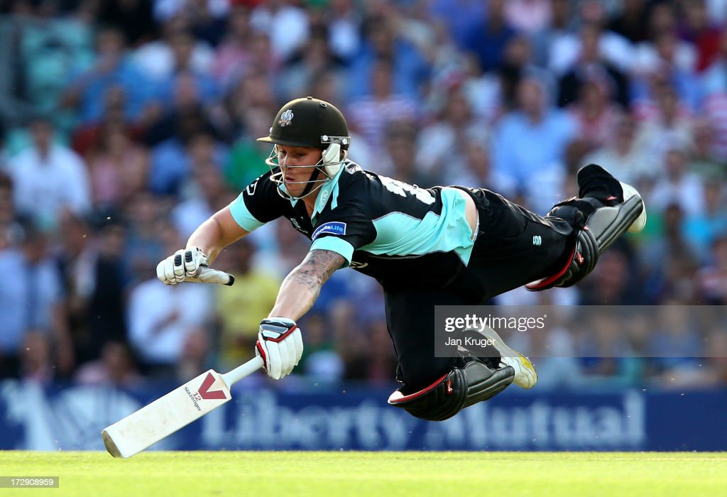 Jason Roy of Surrey dives to make his ground during the Friends Life T20 match between Surrey Lions and Middlesex Panthers at The Kia Oval on July 5...