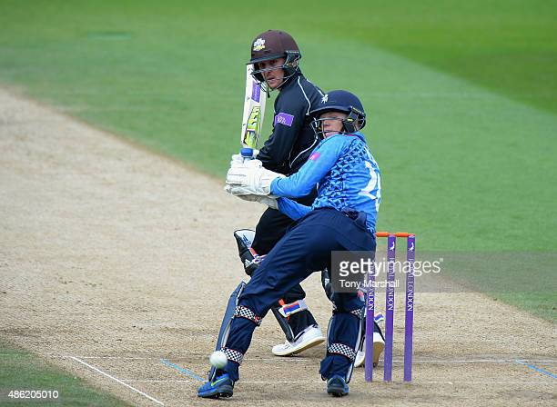 Jason Roy of Surrey guides his shot past Sam Billings of Kent during the Royal London OneDay Cup Quarter Final match between Surrey and Kent at The...